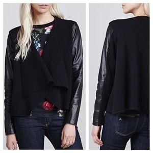 TED BAKER Gaeton Black Leather Trim Jacket